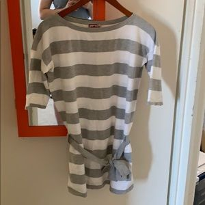 Juicy couture grey and white stripe shirt size M